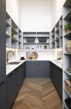 7 new kitchen trends showcased on The Block 2018 Bianca and Carla's butler's pantry on The Block featured a charcoal palette, parquetry flooring and ample storage. Kitchen Pantry Design, Modern Kitchen Design, Kitchen Pantries, Kitchen Storage, Kitchen Doors, Old Kitchen, Kitchen Cupboard, Kitchen Small, Home Design
