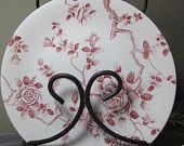 SET OF 5 Red Toile Roses Vintage English Transferware Bread and Butter Dishes / Shadow Rose