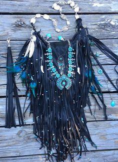 Handmade Black Leather  Bag Hippie Fringe Boho Hobo Native American Purse B.Joy #Handmade #MessengerCrossBody