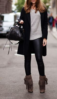 cac9880bd3fd Leather leggings and brown fringe boots.