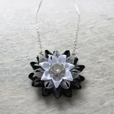 Statement Pendant Necklace White and Black by PetalPerceptions