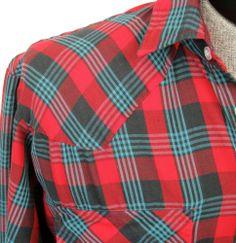 True Vintage Western Shirt Timber Run L Tall Red Plaid Pearl Snaps Rockabilly