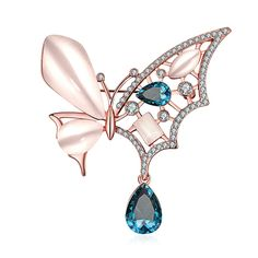 ∞Opal Information: -Color: Pink -Shape: Tear Drop, Marquise, Rectangle ∞Cubic Zirconia Information: -Color: Blue, White -Shape: Tear Drop, Round ∞Brooch Size: Length 6.1cm, Width 5.7cm, Weight 23.5g ∞