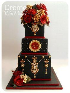 black red and gold wedding cake Beautiful Wedding Cakes, Gorgeous Cakes, Pretty Cakes, Amazing Cakes, Unique Cakes, Elegant Cakes, Creative Cakes, Crazy Cakes, Fancy Cakes