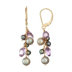 With genuine faceted amethyst beads, and dyed silver and black freshwater cultured pearls, these gold drop earrings elevate your look. Pearl Drop Earrings, Crystal Earrings, Women's Earrings, Amethyst Earrings, Cluster Earrings, Round Earrings, Chandelier Earrings, Jewelry Accessories, Jewelry Design