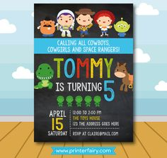 He encontrado este interesante anuncio de Etsy en https://www.etsy.com/es/listing/463235460/toy-story-invitation-toy-story-birthday
