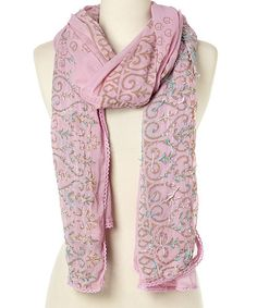 3424438a1c7 This Pink Embroidered Silk Scarf is perfect!  zulilyfinds Embroidered Silk