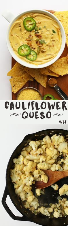 This Vegan Cauliflower Queso Dip is made with sautéed cauliflower, raw cashews, and nutritional yeast for a delicious and healthy plant-based alternative.