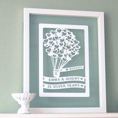 £45 Personalised 1st Anniversary Paper Cut Art