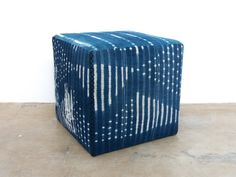 "Vintage Indigo fabric cubes 18""w x 18""h  Vintage and One of a Kind indigo cloth covered ottoman"