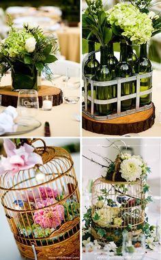 Love the birdcage centerpieces! Wine bottles in the metal carrier also make this idea new and different.