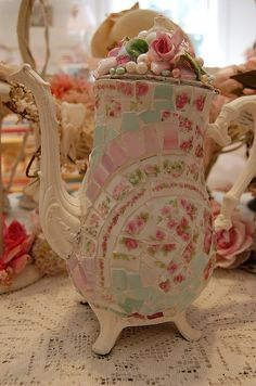 Very pretty mosaic teapot .