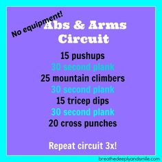 Equipment Abs and Arms Workout! No equipment arms & abs workout! Great for fitting in a quick at home workout.No equipment arms & abs workout! Great for fitting in a quick at home workout. Ab And Arm Workout, Arm Workout No Equipment, Arm Workouts At Home, Cardio Workout At Home, Six Pack Abs Workout, Fun Workouts, Workout Routines, Bodyweight Arm Workout, Circuit Workouts
