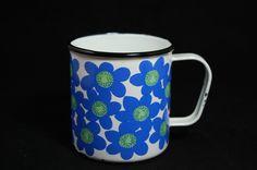 Finel Enamelware Mug Blue Flower Pattern  Sinivuokka  https://www.facebook.com/finelarabiasuomi?ref=hl