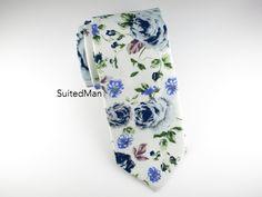 Floral Tie, Vintage Blue – SuitedMan