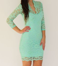Mint Green Lace Scalloped V Neck Mini Dress Sizes 8 16 John Zack | eBay