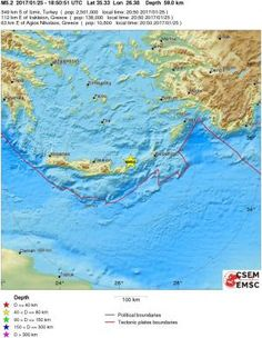 Magnitude: Mw 5.2, Region: CRETE, GREECE, Date time: 2017-01-25   18:50:51.9 UTC, Location: 35.33 N ; 26.38 E, Depth: 59 km.
