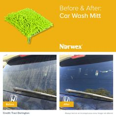 Get your car clean and streak-free without scratching, using just one bucket of water and the Norwex Car Mitt!