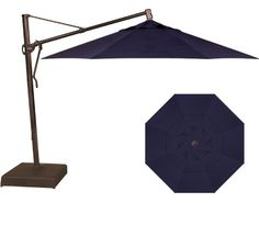 Treasure Garden 11u0027 13u0027 Cantilever Patio Umbrella Navy
