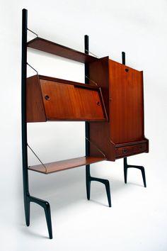 Louis van Teeffelen; Teak and Brass Free-Standing Wall Unit for Webe, c1960.