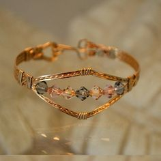 14K gold filled wire wrapped bracelet pastel by Untwistedsister, $50.00