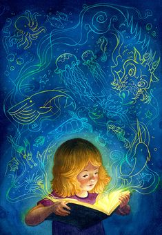 Illustration by Isabella Kung Reading Art, World Of Books, Children's Book Illustration, Book Lovers, Book Worms, Watercolor Art, Illustrators, Fantasy Art, Book Art
