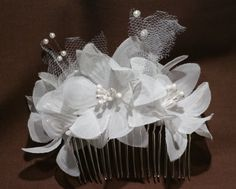 Bridal hair comb/ White by CamillesVine on Etsy