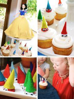 Snow White Birthday Party Ideas: The Snow White & Seven Dwarf Cupcakes