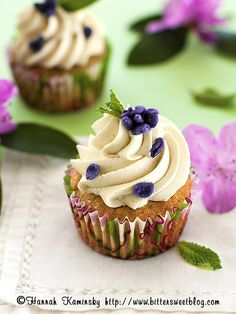 Rhubarb Cupcakes with Vanilla Bean Frosting. Don't mind if we do!