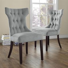 Dorel Living Clairborne Tufted Upholestered Dining Chair, Gray, Set of 2 The Clairborne Tufted Dining Chairs feature a classic design that is both simple and Tufted Dining Chairs, Fabric Dining Chairs, Dining Chair Set, Patterned Dining Chairs, Tufted Chair, Wooden Chairs, Dining Sets, Chair Upholstery, Chair Cushions