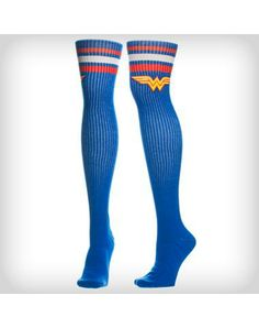 Wonder Woman Blue Athletic Stripe Over the Knee Socks My Socks, Knee Socks, High Socks, Superman Wonder Woman, Gym Style, Geek Chic, Cute Outfits, Girly, Hosiery