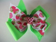 Strawberry Toddler Hair Bow Double Boutique by preciouscurls, .