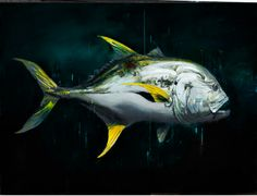 """Jack / 36"""" x 48"""" / Oil on linen / Sold  Life sized painting of a Jack Crevalle,offshore fish"""
