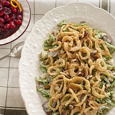 Green Bean Casserole with Alfredo Sauce.  I use this variation of the classic when I have someone that doesn't like mushrooms.  Uses prepared alfredo sauce instead of cream of mushroom soup.  I also omit the sliced mushrooms for them.  I have also done variations with cheddar cheese and swiss cheese.