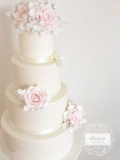 Based in Gateshead in the North East of England, The Designer Cake Company specialises in creating beautiful bespoke wedding cakes. Wedding Cake Roses, Elegant Wedding Cakes, Rose Wedding, Wedding Gowns, Vintage Roses, Vintage Pink, Wedding Cake Inspiration, Wedding Ideas, Different Cakes