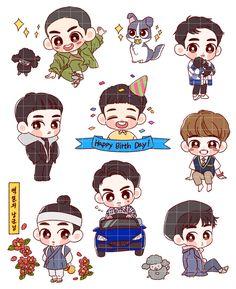D.O. <credits to owner> Exo Stickers, Cute Stickers, Exo Cartoon, Exo Anime, Nct Kun, Kyungsoo, Kaisoo, Chanyeol, Exo Fan Art