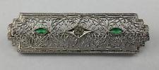 Great Vintage Sterling Silver Filigree Victorian Bar Pin Brooch Green Stones