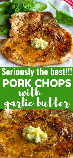 Pork Recipes 58974 This easy pork chop recipe takes no more than 15 minutes and is flavored with dried herbs and a quick garlic butter. 283 calories and 6 Weight Watchers Freestyle SP Herbs For Pork, Easy Pork Chop Recipes, Skillet Recipes, Bone In Pork Chop Recipe Oven, Iowa Chops Recipe, Dinner Recipes With Pork Chops, Pork Chop Meals, Easy Pork Chop Marinade, Pork Marinade Recipes