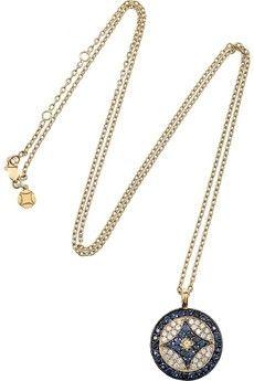Vanessa Kandiyoti|Diamond and sapphire eye necklace|NET-A-PORTER.COM - StyleSays
