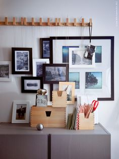 Inspiration from Ikea - fun idea for a photo display for an office.