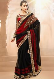 Admyrin Black Embroidered Saree Online Shopping Store