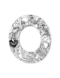 letter O van Olivia Name Coloring Pages, Coloring Letters, Alphabet Coloring Pages, Coloring Pages To Print, Free Printable Coloring Pages, Coloring Books, Cool Typography, Creative Lettering, Woodcut Art