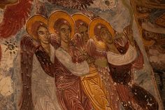 Angelic figures in fresco at Sumela Monastery, NE Turkey