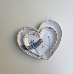 SALE // Large and small nesting blue dragonfly plates, ceramic heart shape Valentine's day dish / plate. $40.00, via Etsy.
