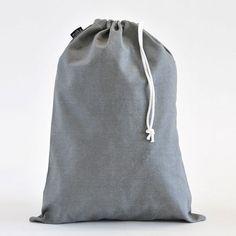 Waxed Canvas Ash Drawstring Bag