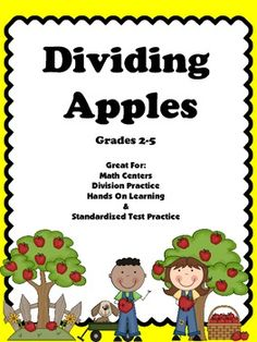 DivisionDividing Apples is a great resource to use when teaching students about division.  There are ten task cards that will provide students with a hands on individualized lesson about division.  These cards can be used for whole group instruction, in a math center, during small group lessons, or for tutoring students. $5.00