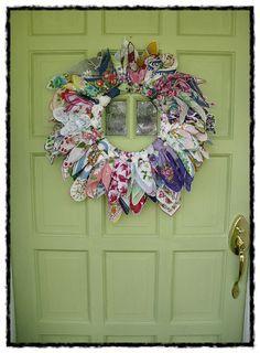 vintage old hanky hankie wreath find hankies @ Nanalulus Linens and… Wreath Crafts, Diy Wreath, Rag Wreaths, Fabric Crafts, Sewing Crafts, Handkerchief Crafts, Craft Projects, Sewing Projects, Arts And Crafts