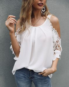 Lace Crochet Cold Shoulder Pleated Blouse Women's Online Shopping Offering Huge Discounts on Dresses, Lingerie , Jumpsuits , Swimwear, Tops and More. Blouse Ample, Trendy Outfits, Fashion Outfits, Trend Fashion, Latest Fashion, Blouse Online, Pattern Fashion, Sleeve Styles, Blouses For Women