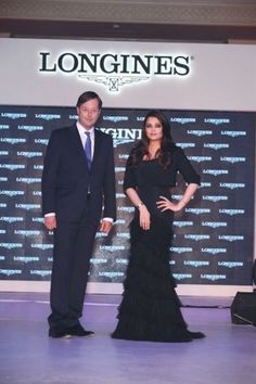 Aishwarya Rai Bachchan poses with Longines Vice President and Head of International Sales Charles Villoz at the launch of Longines Saint Imier Collection at The Taj Palace hotel in New Delhi.