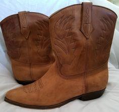 Seychelles cowboy boots 10 M mid calf light brown country western vintage Mexico #Seychelles #CowboyWestern
